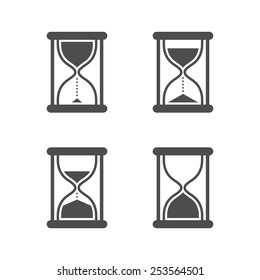 Vector black isolated hourglass icons set on white background
