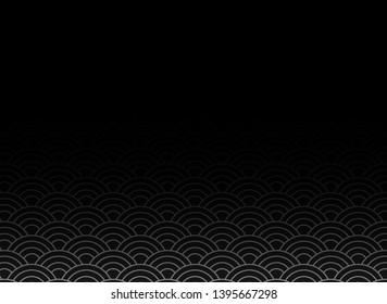 vector of black japanese wave pattern with black gradient  as a blank copy space