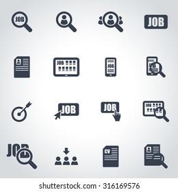 Vector black job search icon set.