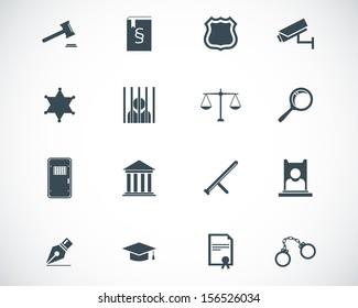Vector black justice icons set