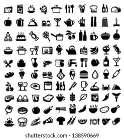 vector black kitchen and food icon set on white