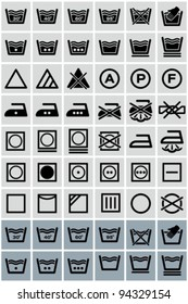 Vector black laundry icons set.