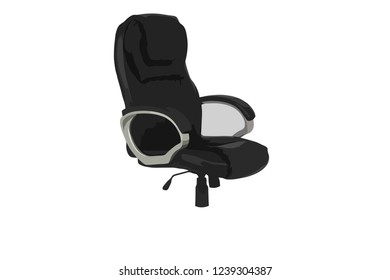 Vector of Black leather office chair on wheels, office chair and a sign vacant. Business hiring and recruiting concept. Vector illustration