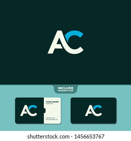Vector Black Letter AC with business card template. Monogram icon symbol for Business, Technology, Corporate Identity. Initial Logo AC, Elegant corporate identity, Simple elegant Logo AC.