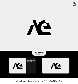 Vector Black Letter AE with business card template. Monogram icon symbol for Business, Technology, Corporate Identity. Initial Logo AE, Elegant corporate identity, Simple elegant Logo AE.
