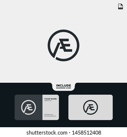 Vector Black Letter AE with business card template. Monogram icon symbol for Business, Technology, Corporate Identity. Initial Logo AE, Elegant corporate identity, Simple elegant Circle Logo AE.