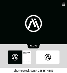 Vector Black Letter A with business card template. Graphic Monogram icon symbol for Business, Technology, Corporate Identity. Initial Logo A, Elegant corporate identity, Simple elegant Circle Logo Ai.