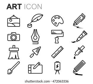 Vector black line art icons set on white background