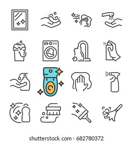 Vector black line Cleaning icons set. Includes such Icons as Clean Surface, Dust, Foam, Detergent.