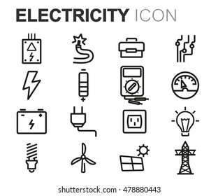 Vector black line electricity icons set on white background