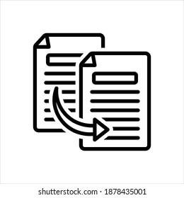 Vector black line icon for copy