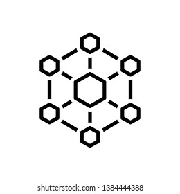 Vector black line icon for hexagonal interconnections