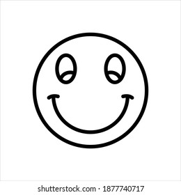 Vector black line icon for smilies