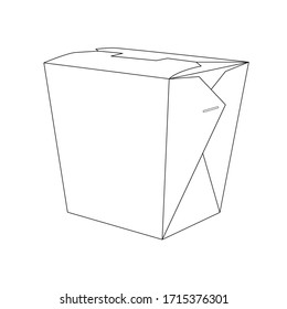 Vector black line illustration of the chinese box isolated on white background. Restraunt take out box, product packing