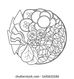 Vector black line illustration of hand drawn salmon poke bowl isolated on white background