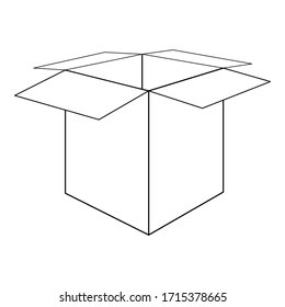 Vector black line illustration of the opened cardboard box isolated on white background