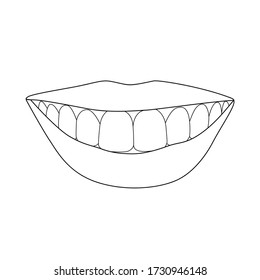 Vector black line illustration of smilling mouth isolated on white background