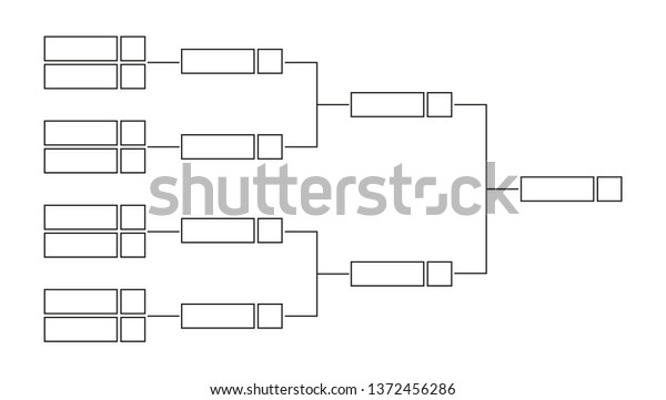 Vector Black Line Outline Championship Single Stock Vector