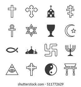 Vector black line religion icon set on white background