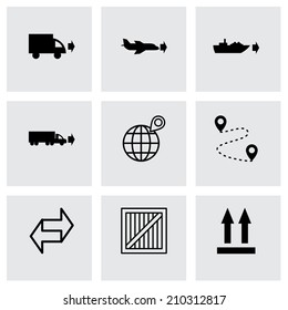 Vector black logistic icons set on grey background