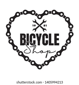 Vector black logo heart from bike chain with text bicycle shop created. Isolated on white background.