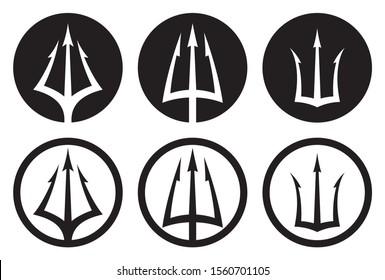 Vector black logo set of trident in circle Triton, Neptune, Poseidon. Isolated on white background.
