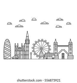 Vector black london icon set on yellow background