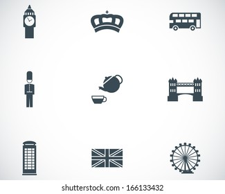 Vector black london icons set
