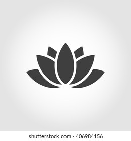 Vector black lotus icon on grey background