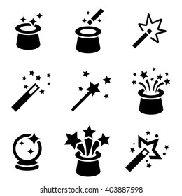 Vector black magic icons set. Magician. Magic wand icon