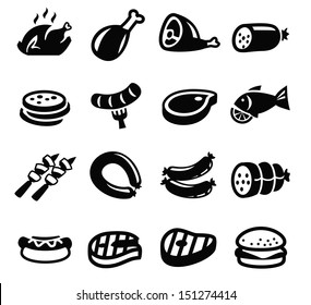 vector black meat and sausage icon set on white