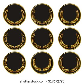 Vector black medal with gold laurels. Element for design of medals, awards, coat of arms or anniversary logo. vector illustration.