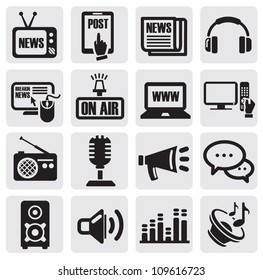 vector black media icons set on gray