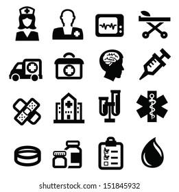 vector black medical icon set on white