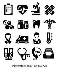 vector black medical icons set on white
