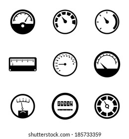 Vector black meter icons set on white background
