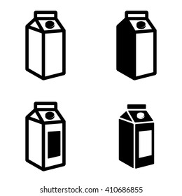 Vector black milk carton packages icons set on white background.
