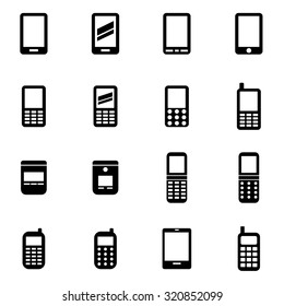 Vector black mobile phone icon set