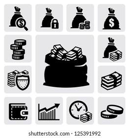vector black money icons set on gray