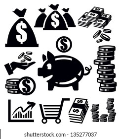 vector black money icons set on white