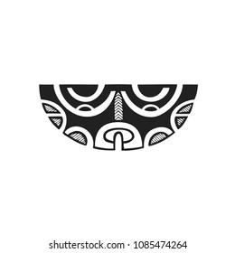 vector black monochrome ink hand drawn native polynesian folk art symbol mythological Mata Hoata brilliant eye Tiki illustration isolated white background