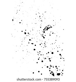 vector black monochrome ink paint splashes and splatters decorative realistic texture isolated on white background