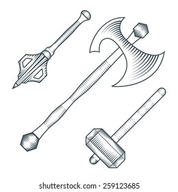 vector black monochrome medieval axe warhammer mace engraving style illustration cold steel arms set white background