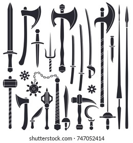 vector black monochrome solid design various medieval cold steel arms collection isolated on white background