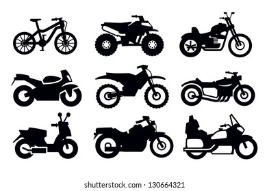 vector black motorcycles and bicycles icon set