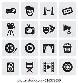 vector black movie icons set on gray