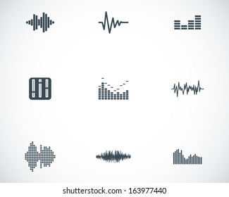 Vector black music soundwave icons set white background