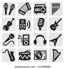 vector black musical instruments icons set on gray