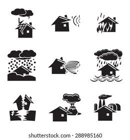 Vector black natural disaster icons set on white background