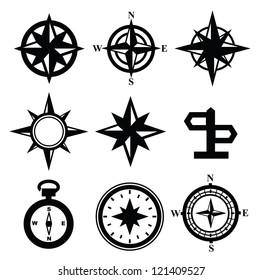 vector black navigation icon set on gray